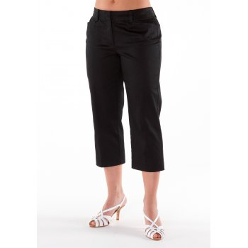 Petite Affair Black Cotton Cropped Summer Trousers