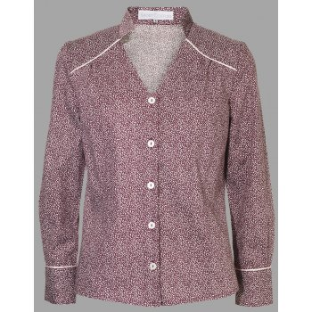 Short Couture Petite Berry Printed Cotton Blouse