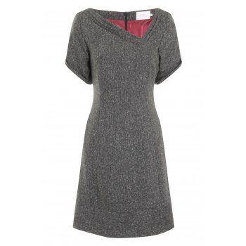 Short Couture Petite Charcoal Pleated Neckline Dress