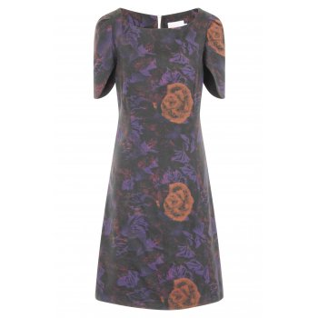 Short Couture Petite Petal Sleeve Placement Print Dress