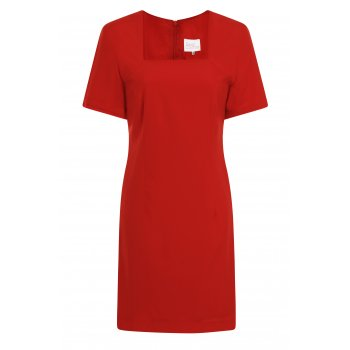 Short Couture Petite Square Neckline Shift Dress