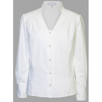 Short Couture Petite White Stretch Cotton Blouse